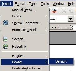 Footer Deffault OpenOffice