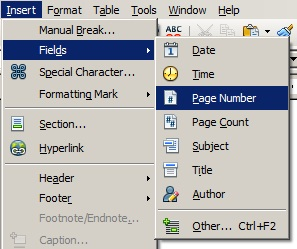 Fields Page Number OpenOffice