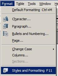 Memilih Format >> Styles and Formatting